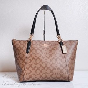 NWT Coach F58318 Ava Zip Tote in Signature Canvas